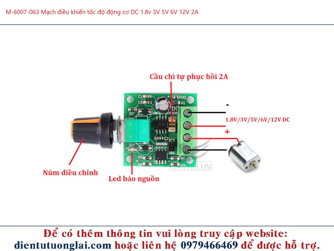 Mạch điều khiển tốc độ động cơ DC 1.8v 3V 5V 6V 12V 2A